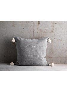 TineKHome Funda de Cojín de algodón marroquí con pompones - gris - 60x60cm - TinekHome