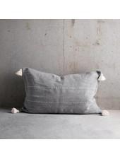 Tinekhome Funda de Cojín de algodón marroquí con pompones - gris - 50x75cm - TinekHome