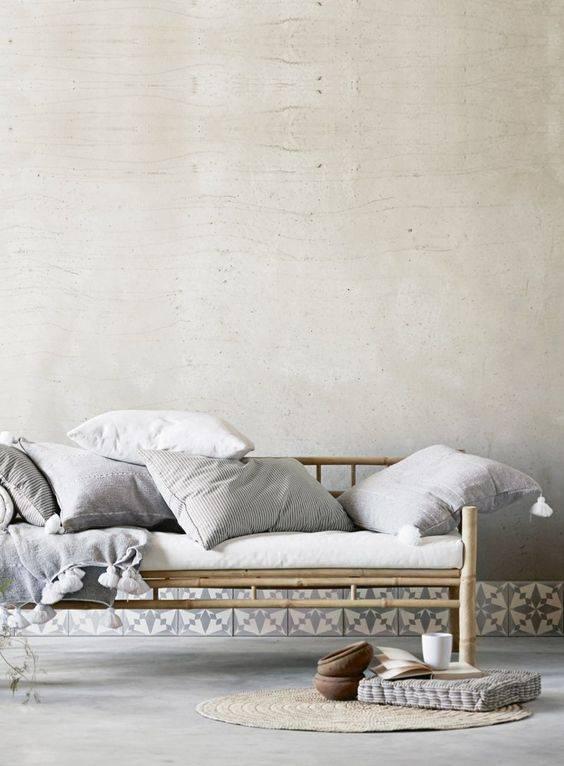 couverture plaid marocain en coton avec pompons xl gris 195x300cm tinekhome petite. Black Bedroom Furniture Sets. Home Design Ideas