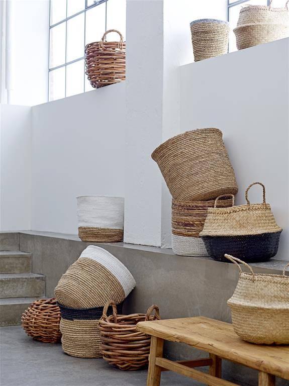 Bloomingville Seagrass basket - natural/white - Ø35xH32 - Bloomingville