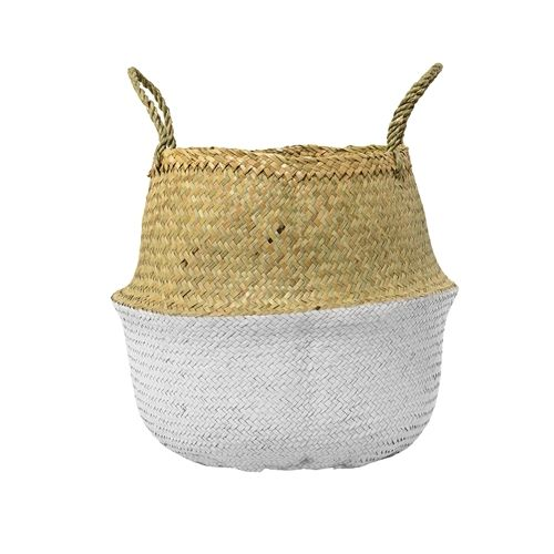 Bloomingville Seagrass basket - natural/white - Ø35xH32 - Bloomingville