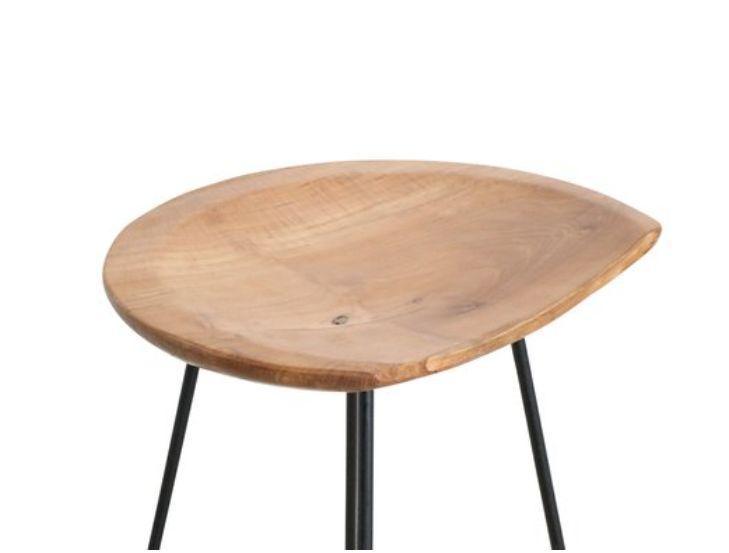 Oneworld Interiors Loft bar stool - teak and Iron - Onewold Interiors