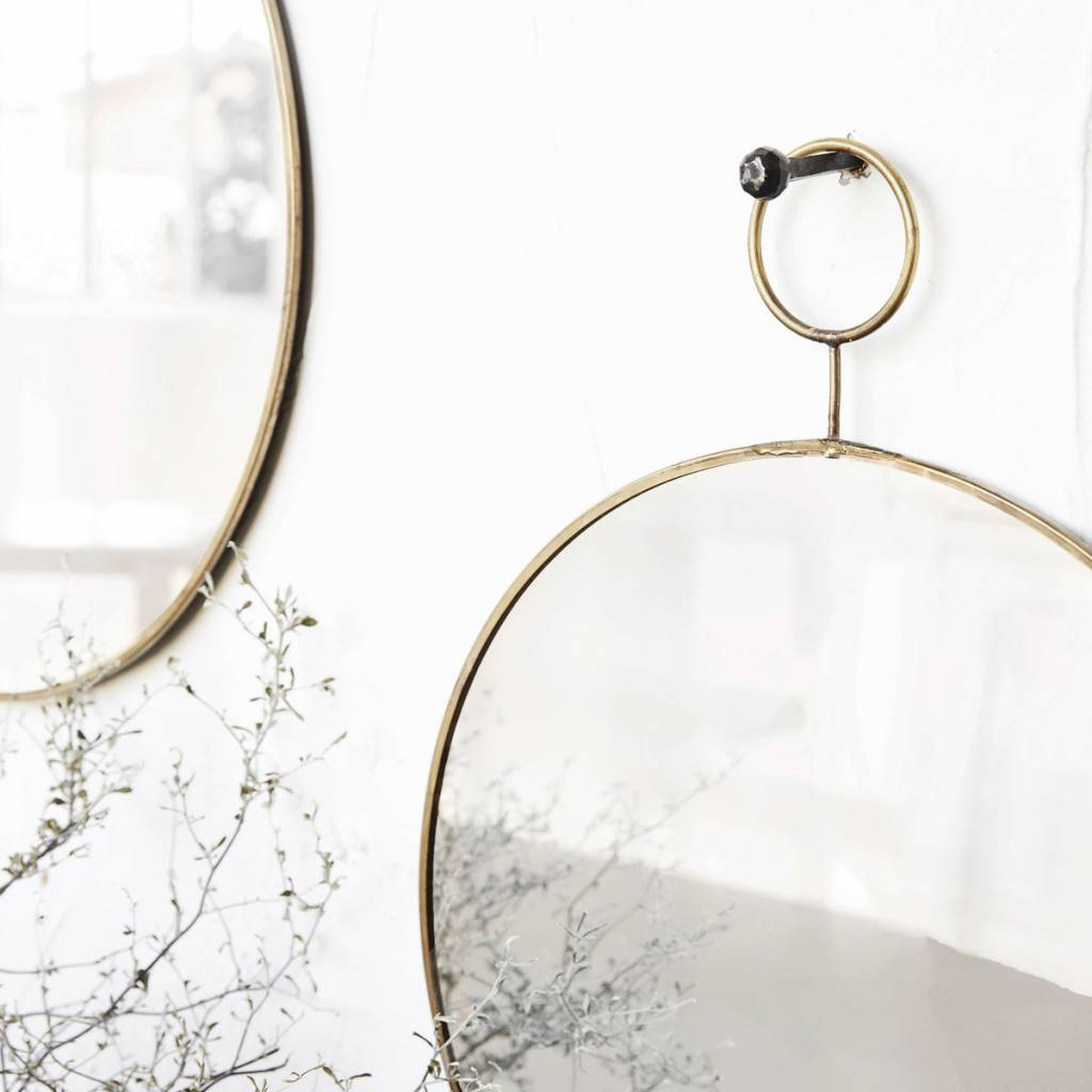 House Doctor Round mirror 'the loop' - brass - 38cm - House Doctor