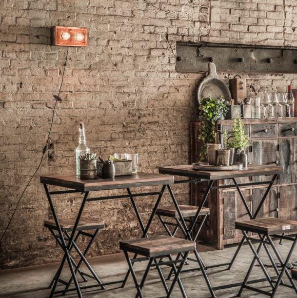 Oneworld Interiors Mesa de Bistro plegable - 60x60x75cm - metal y madera reciclada - OneWorld Interiors