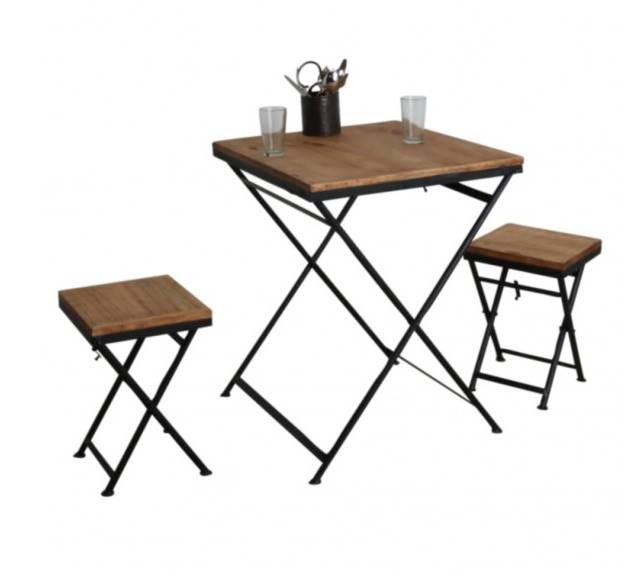 oneworld interiors table de bistrot pliante m tal et bois de pin 60x60xh75cm oneworld. Black Bedroom Furniture Sets. Home Design Ideas