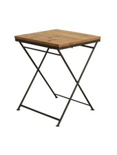 Oneworld Interiors Table de bistrot pliante - métal et bois de pin - 60x60xh75cm - OneWorld Interiors