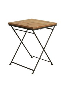 Oneworld Interiors Factory folding bistro table - metal and pinewood - 60x60xh75cm - OneWorld Interiors