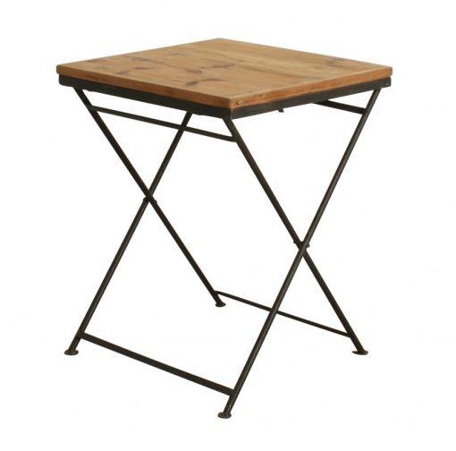 oneworld interiors table de bistrot pliante - métal et bois de pin