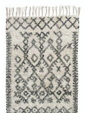 Nordal Ethnic rug 'Harlekin' - white and black - 100% stonewashed cotton - 75x150cm - Nordal