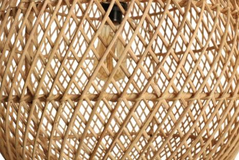 Oneworld Interiors Lámpara de suspensión de ratán - natural - Ø45xh65cm