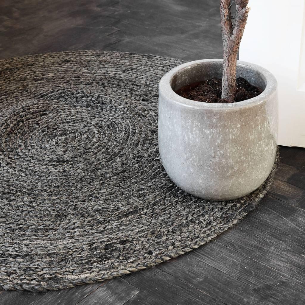 House Doctor Round rug hemp - black / bleached - Ø100cm - House Doctor