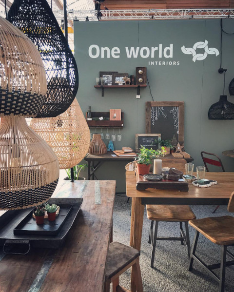 Oneworld Interiors Rattan pendant lamp - naturel - Ø45xh65cm