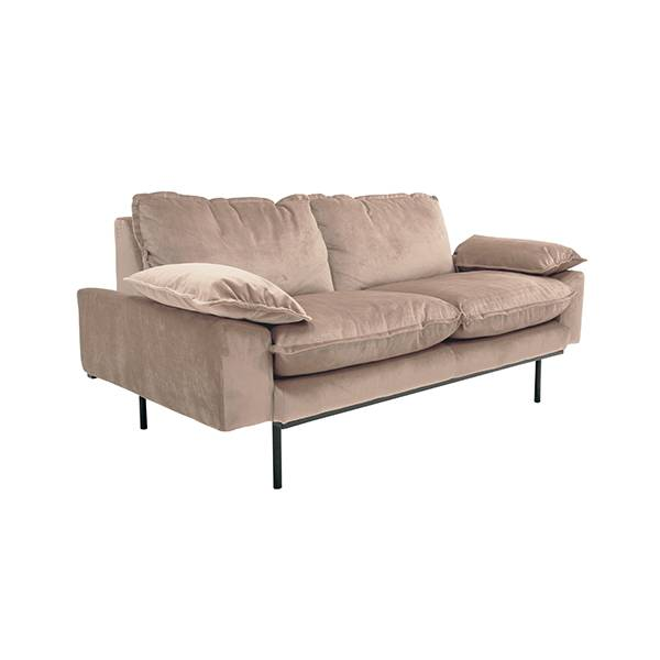HK Living Retro sofa velvet - 2 seater - nude - 175x83x95cm - HK Living