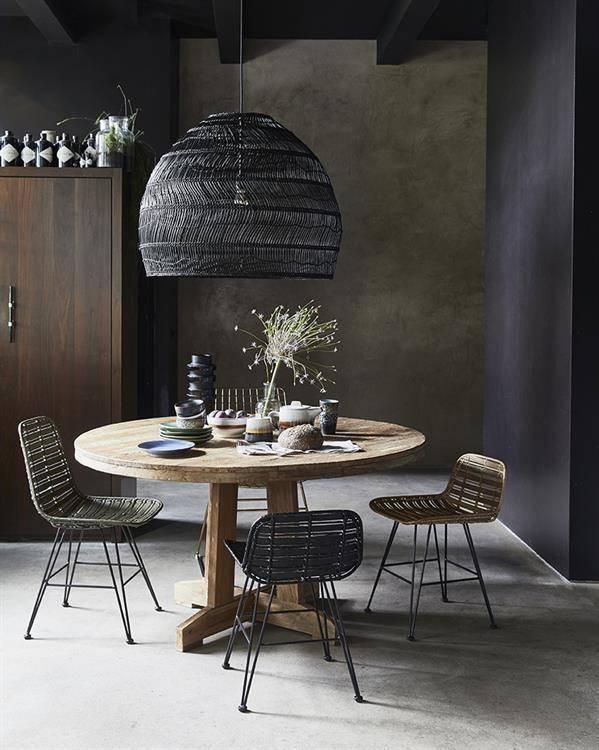 HK Living Rattan stool natural - hokaido - h65cm - HK Living