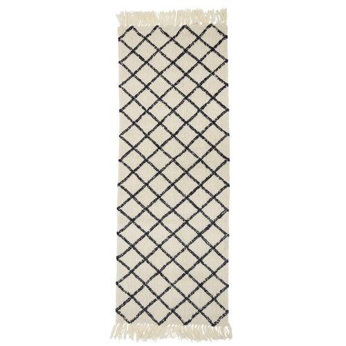 Bloomingville Alfombra Nórdica/ Étnico estilo beréber - Crema y negro - 70x200cm - Bloomingville