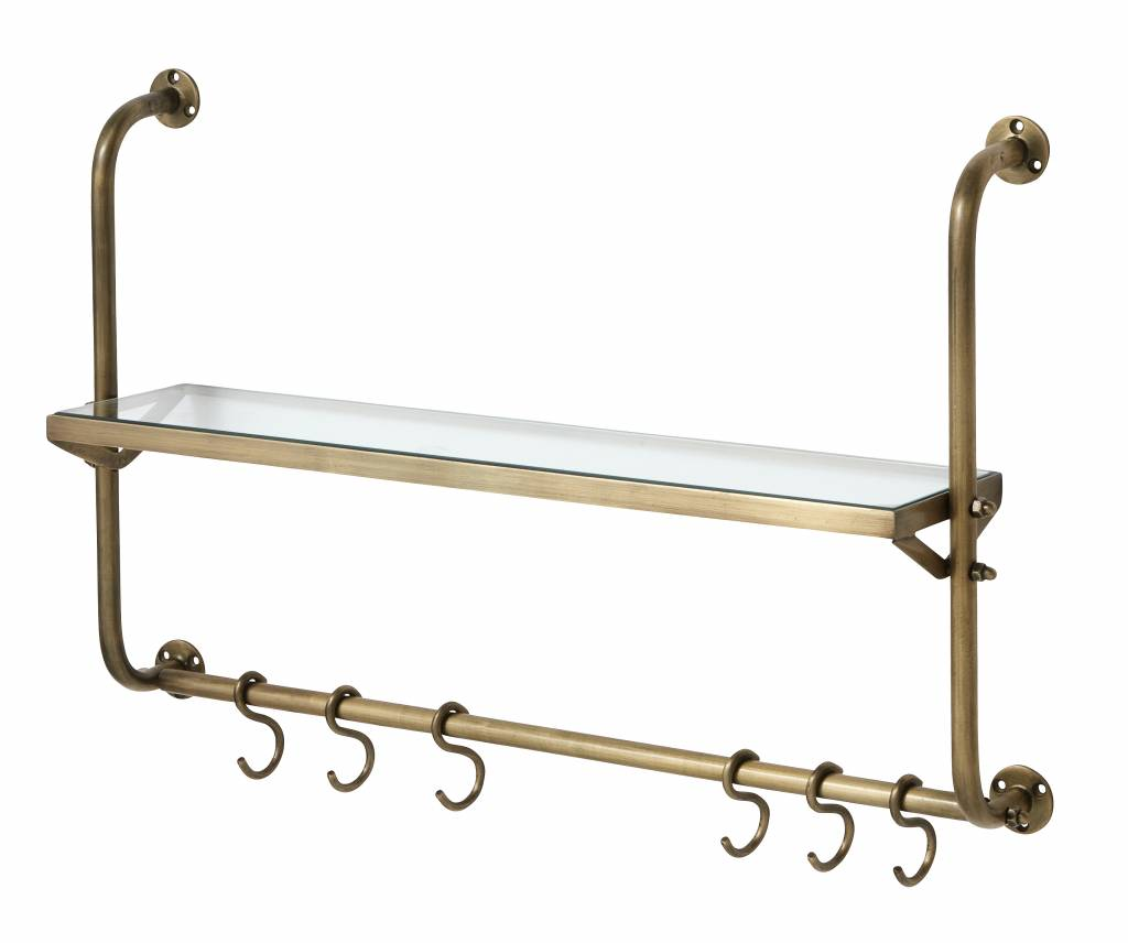 Nordal Glass shelf with brass brackets and hooks - 65x51cm - Nordal