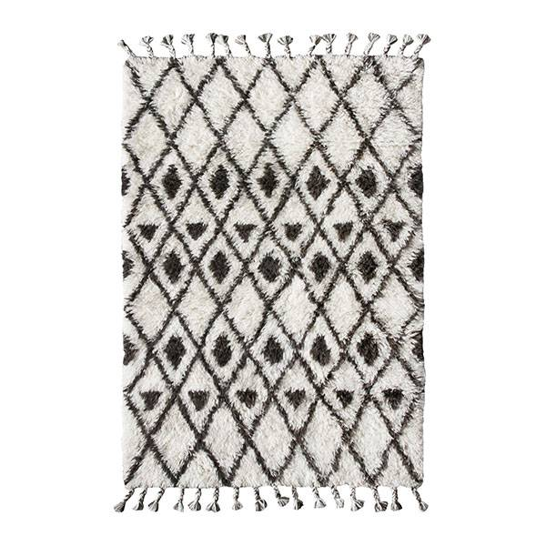 berber rug - white with black diamond pattern - 120x180 cm - hk Berber Rug