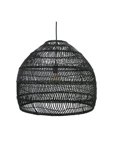 HK Living Lampe Suspension en osier - Ø60cm - Noir - HK Living