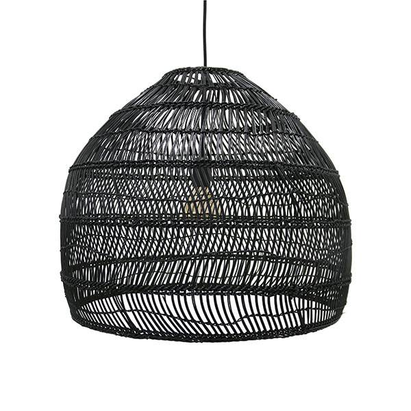 HK Living Wicker pendant lamp - Ø60cm - black - HK Living