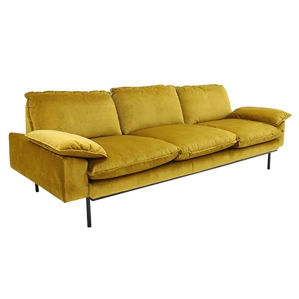 HK Living Retro sofa velvet - 3 seater - ochre - 225x83x95cm - HK Living