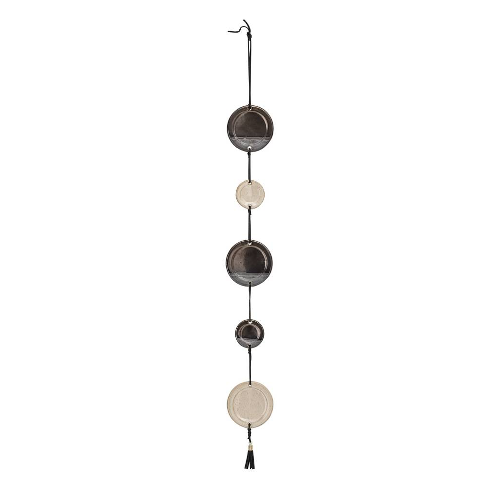 Bloomingville Wall hanging stoneware - brown - Ø8xL70 - Bloomingville