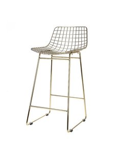 HK Living Tabouret de bar 'Wire' Scandinave en laiton - HK Living