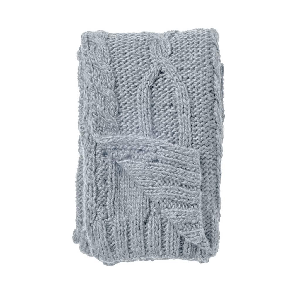 plaid en tricot xl bleu 150x125cm bloomingville petite lily interiors. Black Bedroom Furniture Sets. Home Design Ideas