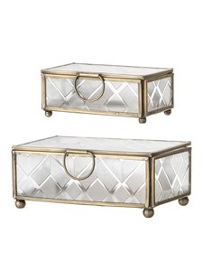 Bloomingville Set of 2 jewelry boxes glass / brass - Gold - Bloomingville