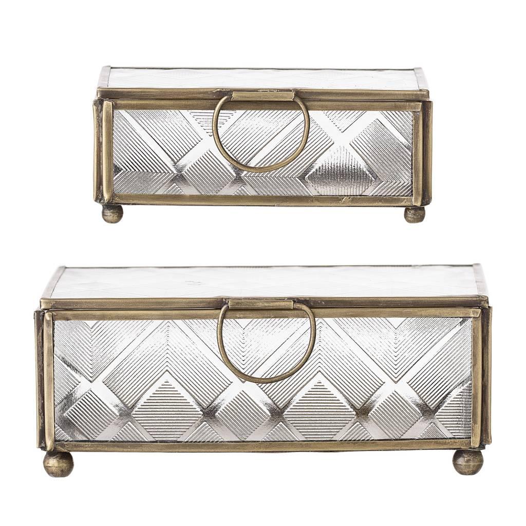 Bloomingville Conjunto de 2 cajas de joyas de vidrio / latón - oro - Bloomingville