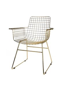 HK Living Chaise WIRE Scandinave métal à accoudoirs laiton - HK Living