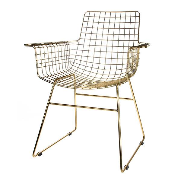 HK Living metal wire chair with arms brass - HK Living