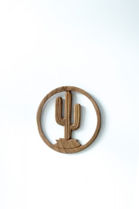 MaduMadu Colgadura de madera teca - Cactus - Ø35cm - MaduMadu