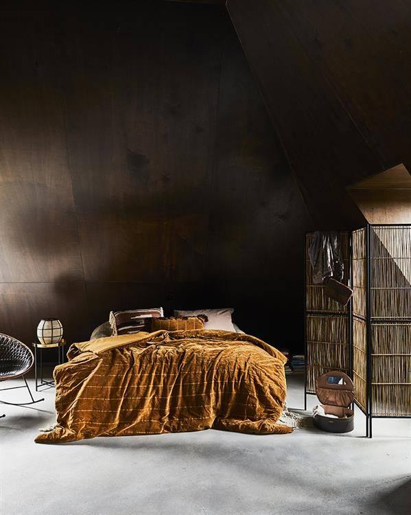 HK Living Couvre-lit shabby - ocre - velours - 230x250cm - HK Living