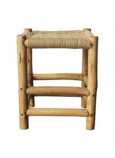 Evenaar Taburete etnico de madera y jute - 46x37x37cm - Evenaar
