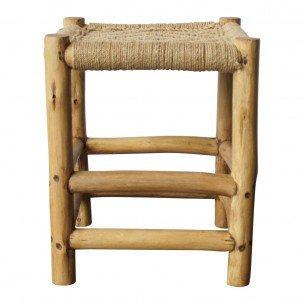 Evenaar Stool Moroccan wood and jute - 46x37x37cm - Evenaar