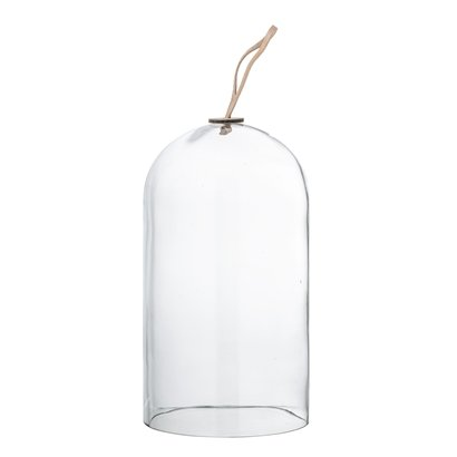 Bloomingville Deco Dome - Glass and Leather - Ø14xh25cm - Bloomingville