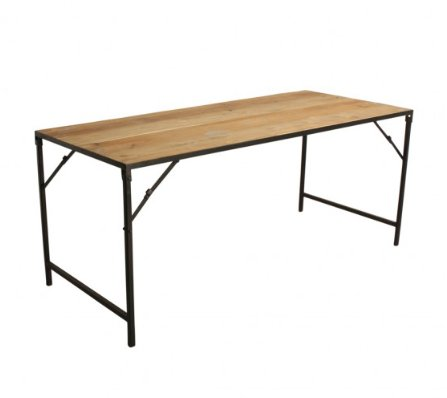Oneworld Interiors Mesa Industrial Plegable - Metal y Madera - 180x75xh76cm - One World Interiors