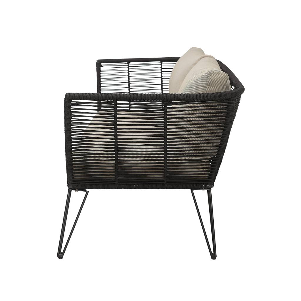 Bloomingville Outdoor sofa - black / natural - 175cm - Bloomingville