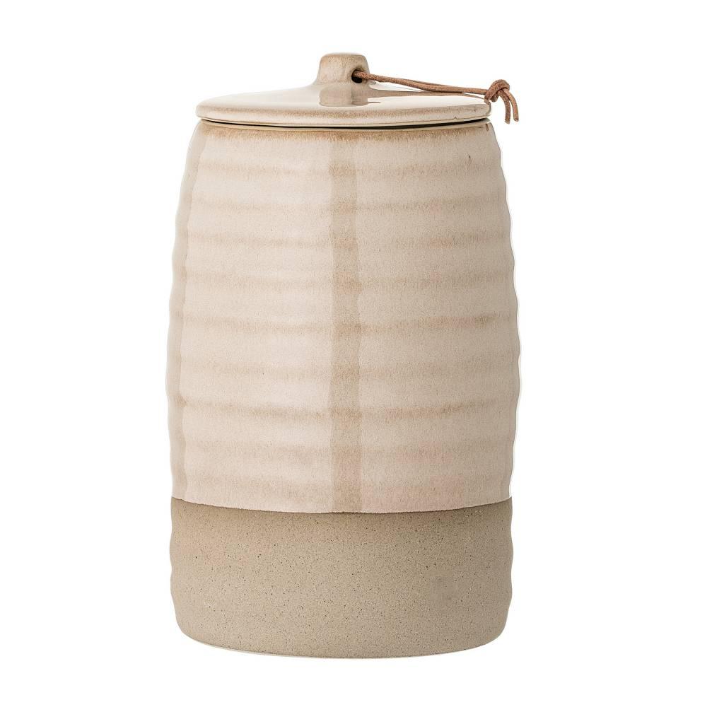 Bloomingville Pot en gres avec couvercle - Ø12xH20cm - naturel - Bloomingville