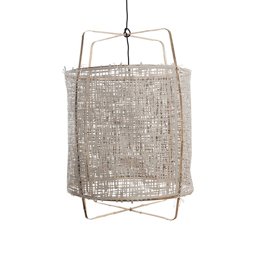 Ay Illuminate Suspension Z1 en bambou et papier gris - Ø 67cm x H100cm - Ay Illuminate