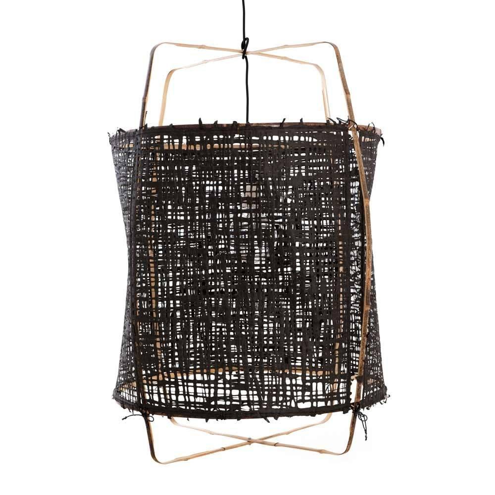 Ay Illuminate Z1 pendant lamp bamboo and black paper - Ø 67cm x H100cm - Ay illuminate