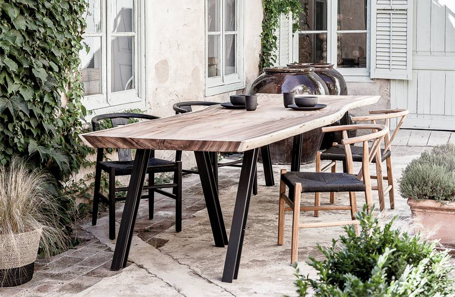 Dareels Dinning Chair ROB in teak et robe - Black / Natural  - Dareels