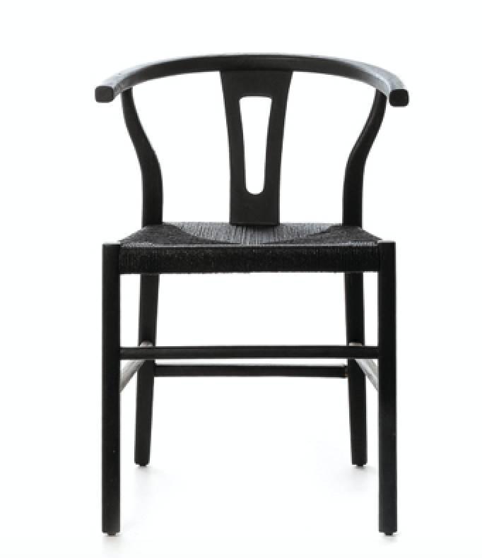 chaise rob en teck et corde noir dareels petite lily interiors. Black Bedroom Furniture Sets. Home Design Ideas