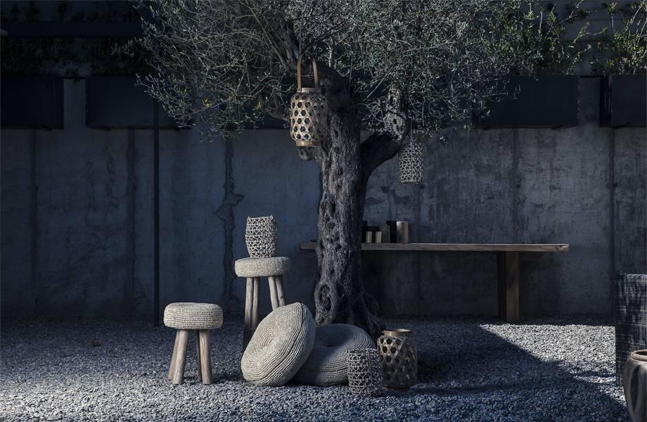 Dareels Taburete alto en madera y alga - natural - natural - Ø35x75cm - Dareels