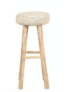 Dareels Teak and seagrass bar stool - natural - Ø35x75cm - Dareels