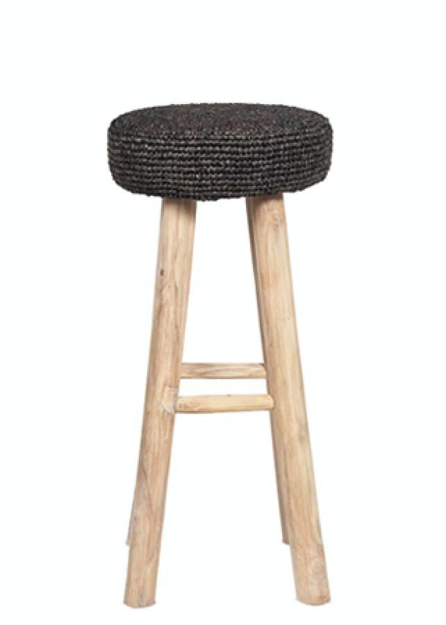Dareels Teak and seagrass bar stool - black - Ø35x75cm - Dareels