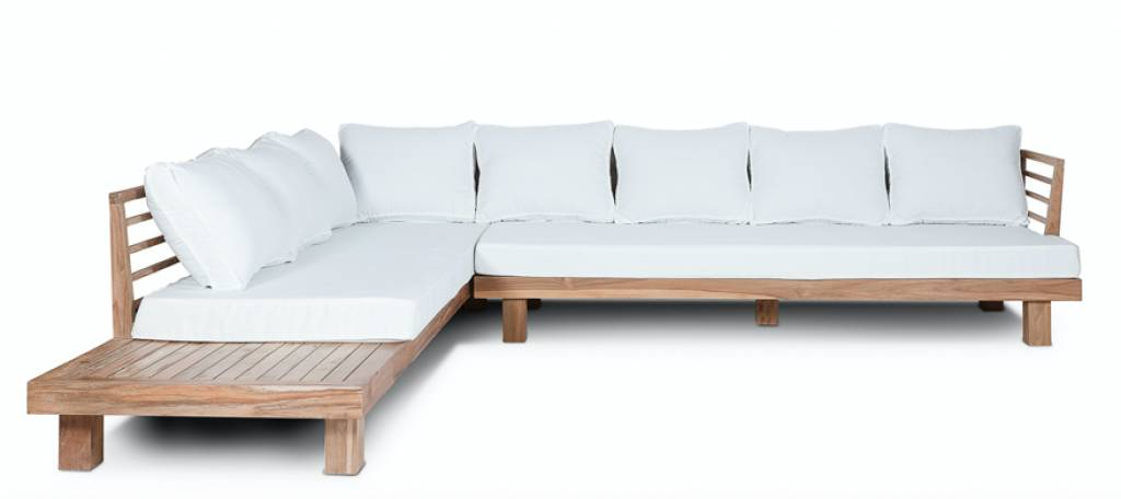 Dareels White outdoor sofa 'STRAUSS' - recycled teak and polyester - 300x250x67cm - Da