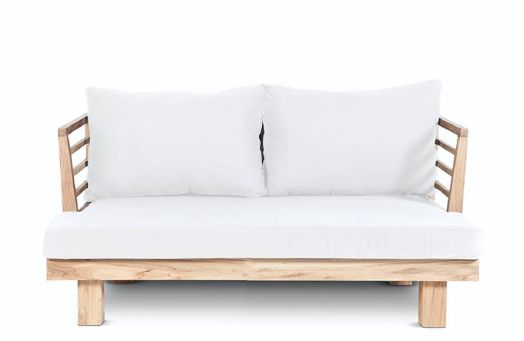 Dareels Sofá de exterior STRAUSS - polyester y teca reciclada - Blanco - 130x82x67cm - Dareels