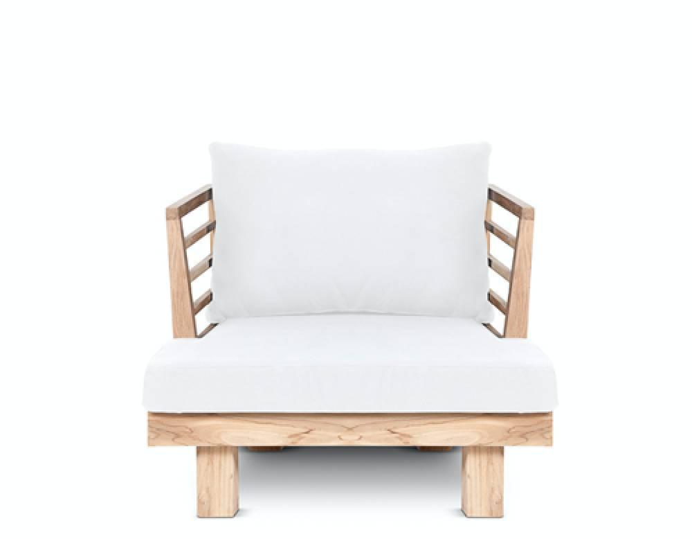 Dareels Sillón de exterior STRAUSS - polyester y teca reciclada - Blanco - 84x82x67cm - Dareels