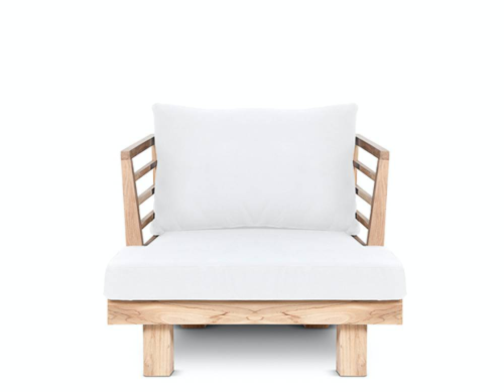 Dareels White outdoor chair 'STRAUSS' - recycled teak and polyester - 84x82x67cm - Dareels